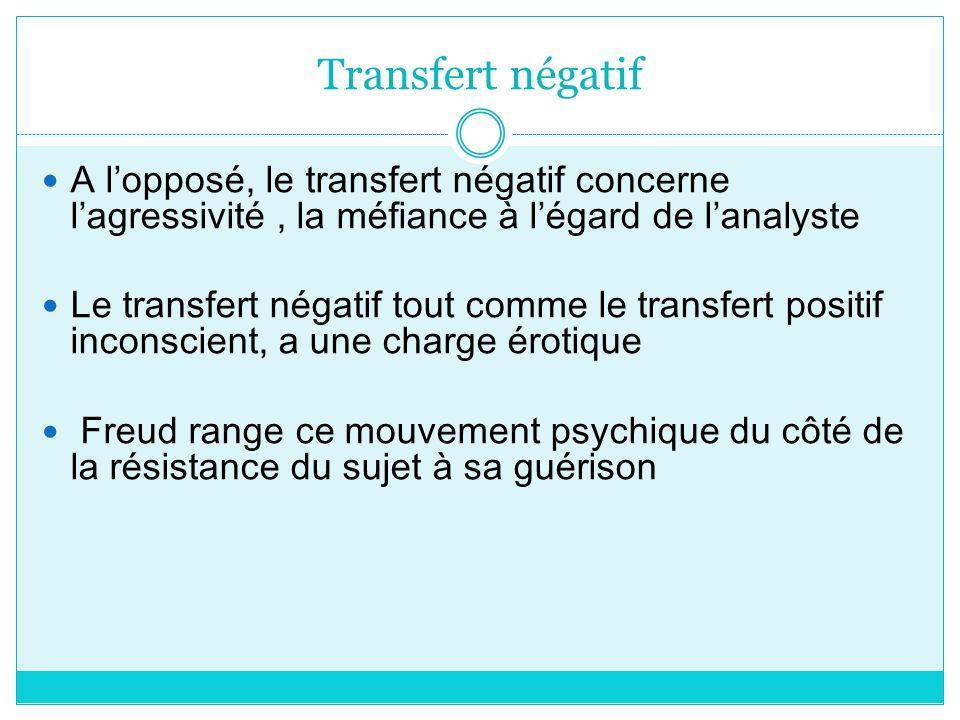 Transfert négatif A lopposé, le transfert négatif concerne lagressivité, la méfiance à légard de lanalyste Le transfert négatif tout comme le transfer