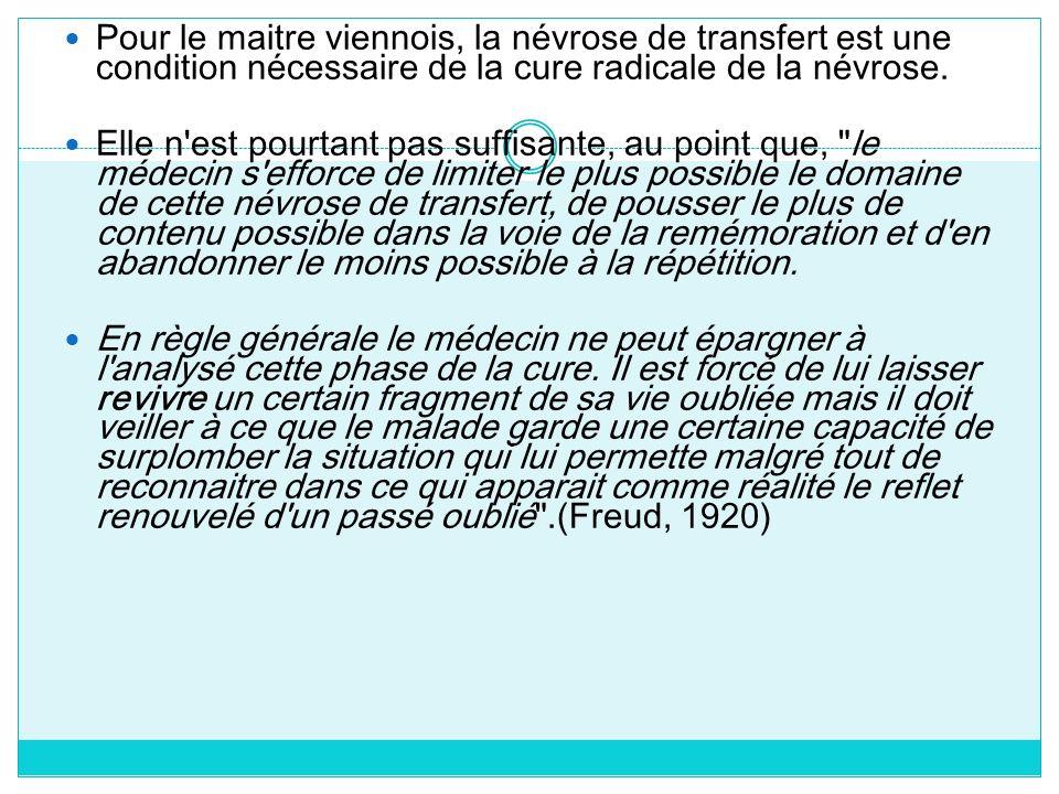 Pour le maitre viennois, la névrose de transfert est une condition nécessaire de la cure radicale de la névrose. Elle n'est pourtant pas suffisante, a