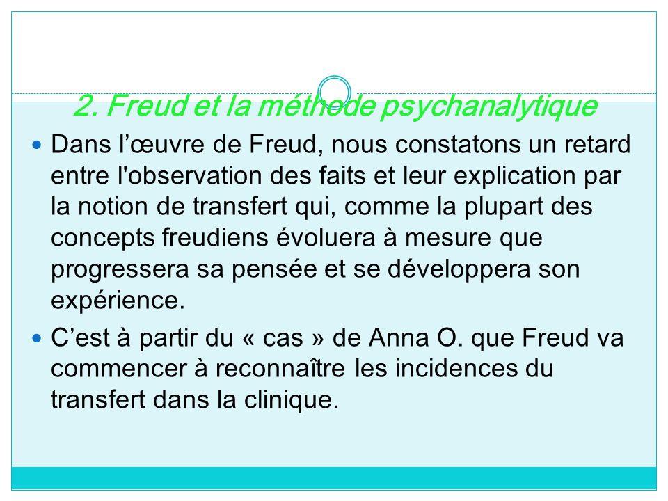 2. Freud et la méthode psychanalytique Dans lœuvre de Freud, nous constatons un retard entre l'observation des faits et leur explication par la notion