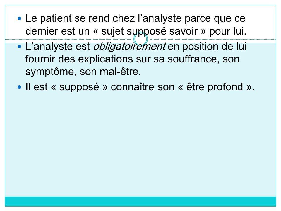 Le patient se rend chez lanalyste parce que ce dernier est un « sujet supposé savoir » pour lui. Lanalyste est obligatoirement en position de lui four