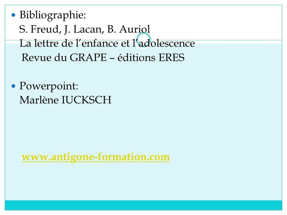 Bibliographie: S. Freud, J. Lacan, B. Auriol La lettre de lenfance et ladolescence Revue du GRAPE – éditions ERES Powerpoint: Marlène IUCKSCH www.anti