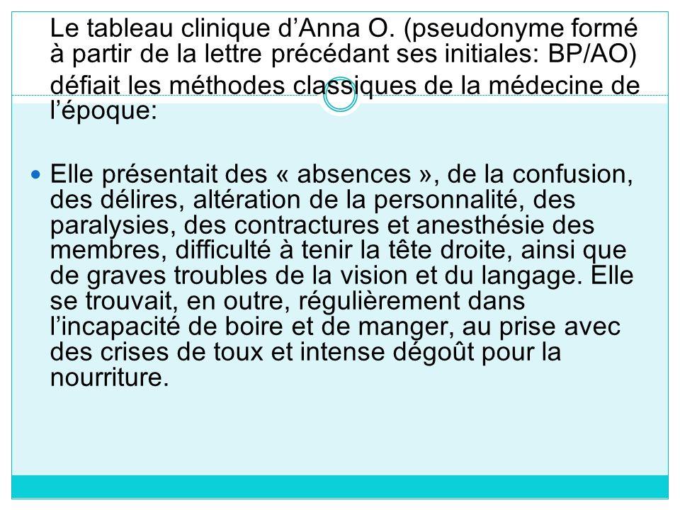 Le tableau clinique dAnna O. (pseudonyme formé à partir de la lettre précédant ses initiales: BP/AO) défiait les méthodes classiques de la médecine de