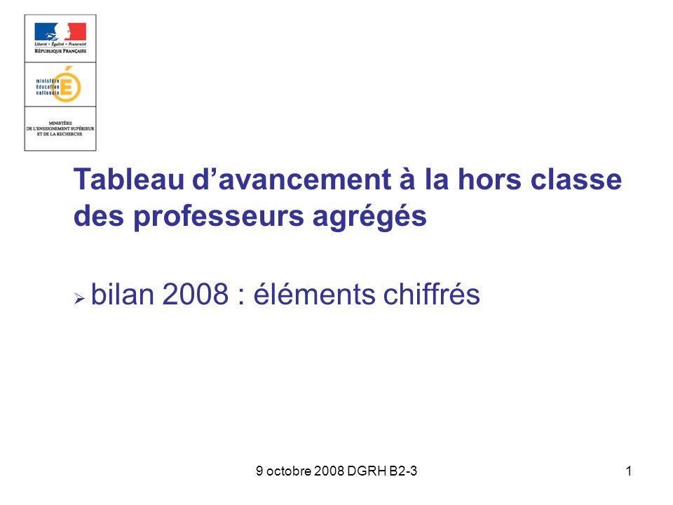 9 octobre 2008 DGRH B2-31 Tableau davancement à la hors classe des professeurs agrégés bilan 2008 : éléments chiffrés