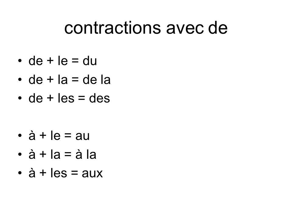 contractions avec de de + le = du de + la = de la de + les = des à + le = au à + la = à la à + les = aux