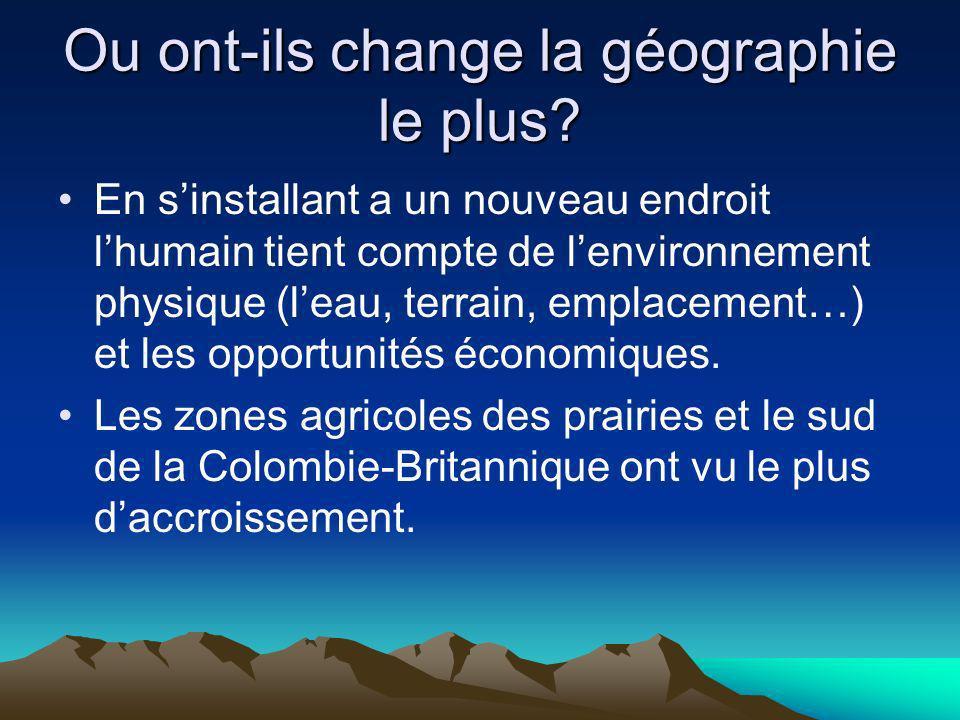Ou ont-ils change la géographie le plus? En sinstallant a un nouveau endroit lhumain tient compte de lenvironnement physique (leau, terrain, emplaceme