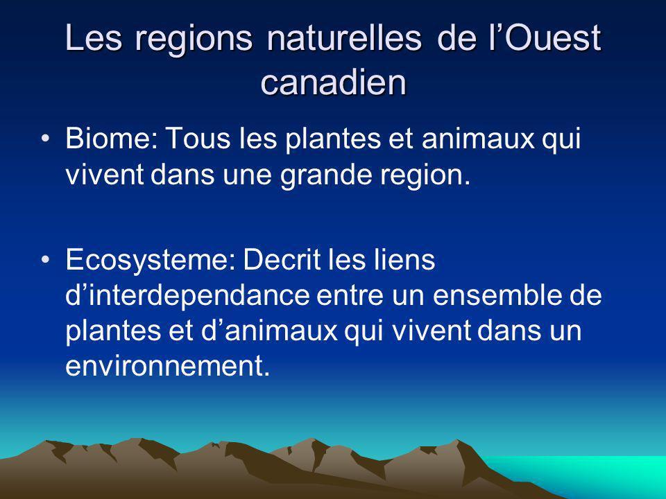 Les regions naturelles de lOuest canadien Biome: Tous les plantes et animaux qui vivent dans une grande region. Ecosysteme: Decrit les liens dinterdep