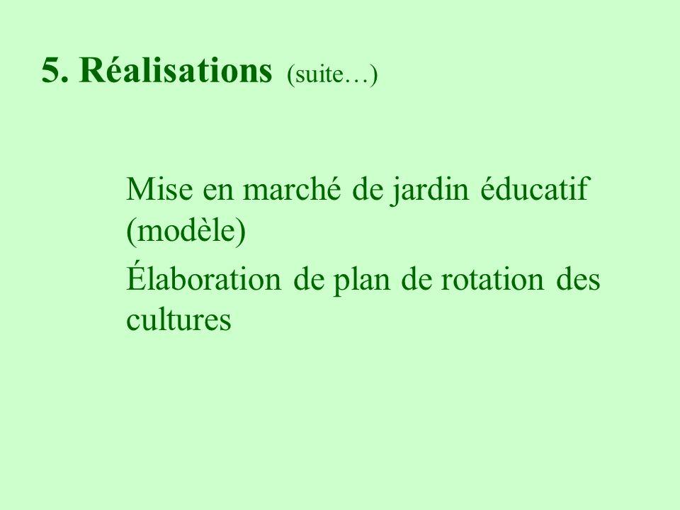 5. Réalisations (suite…) Mise en marché de jardin éducatif (modèle) Élaboration de plan de rotation des cultures