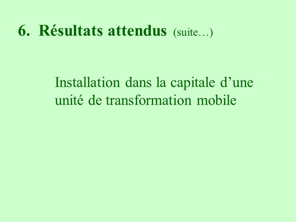6. Résultats attendus (suite…) Installation dans la capitale dune unité de transformation mobile