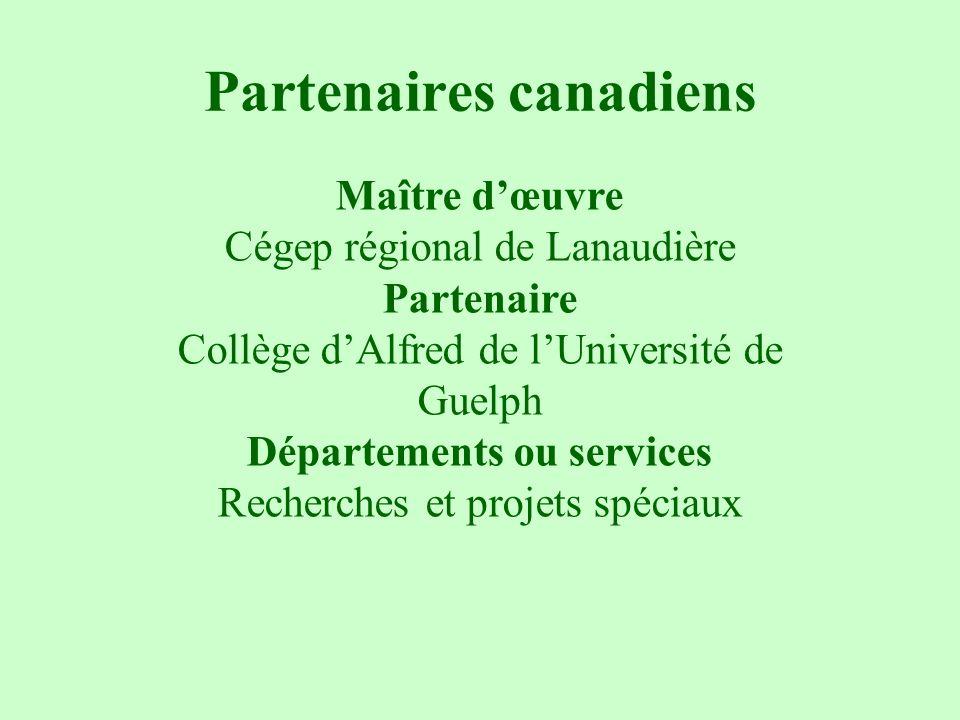 Partenaires canadiens Maître dœuvre Cégep régional de Lanaudière Partenaire Collège dAlfred de lUniversité de Guelph Départements ou services Recherch