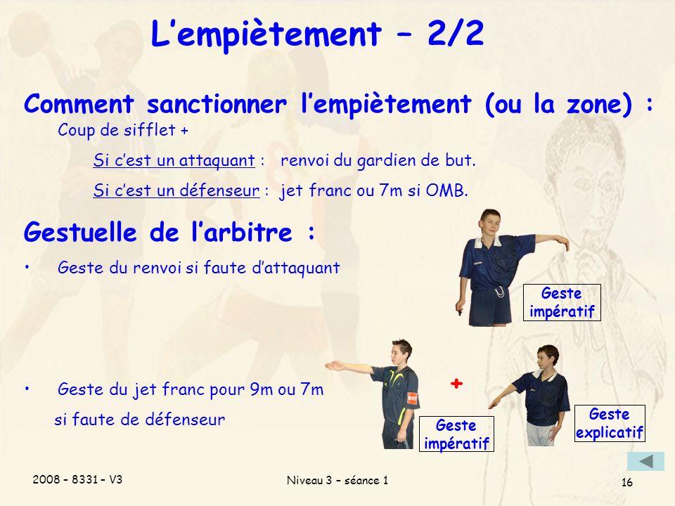 2008 – 8331 – V3 Niveau 3 – séance 1 16 Lempiètement – 2/2 Comment sanctionner lempiètement (ou la zone) : Coup de sifflet + Si cest un attaquant : renvoi du gardien de but.