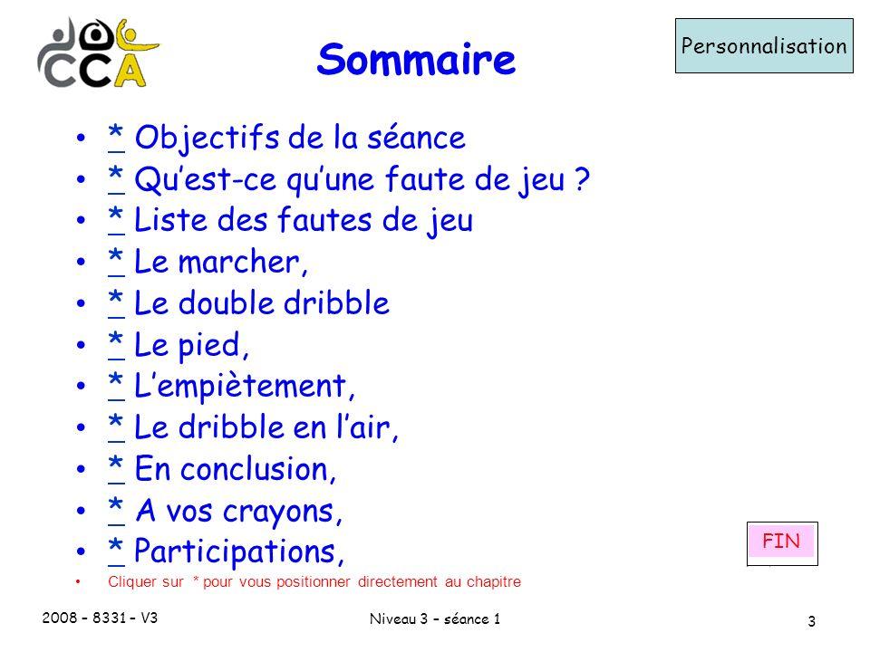 2008 – 8331 – V3 Niveau 3 – séance 1 3 Sommaire Personnalisation * Objectifs de la séance * * Quest-ce quune faute de jeu .