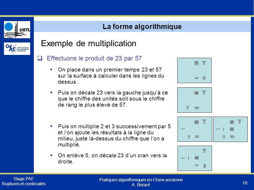 Stage PAF Ruptures et continuités Pratiques algorithmiques en Chine ancienne A.