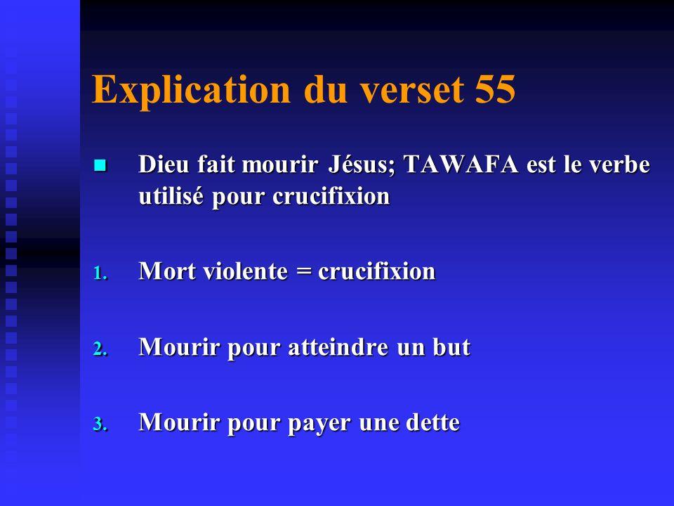 B. La confirmation de la crucifixion 3 ème Sourate v.55 3 ème Sourate v.55 Dieu dit à Jésus je te fait mourir; je télèverai vers moi te délivre des in