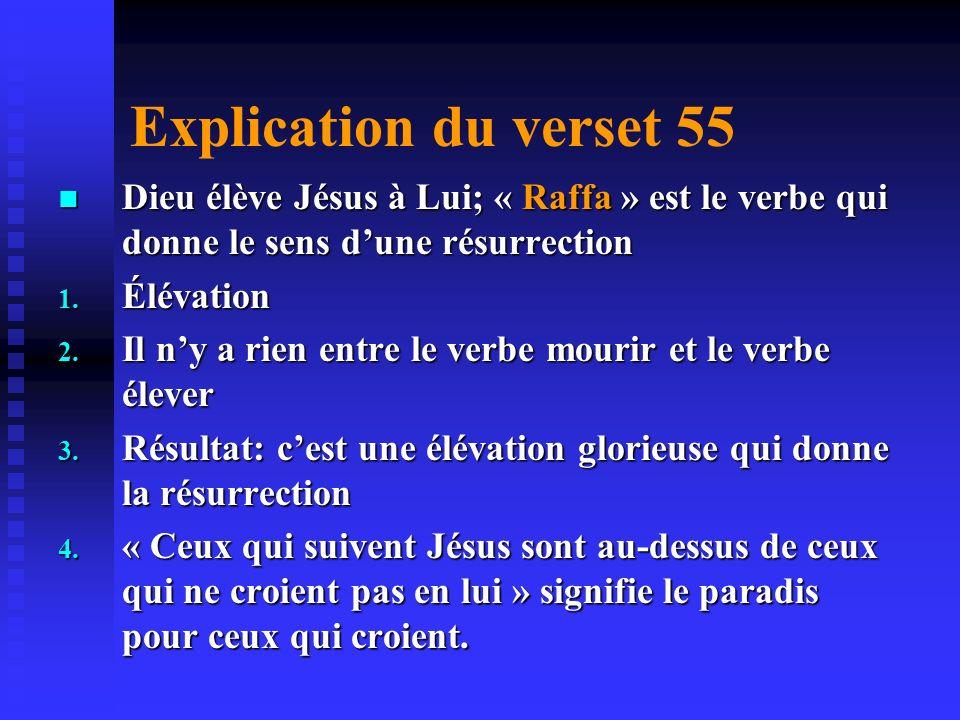 Explication du verset 55 Dieu fait mourir Jésus; TAWAFA est le verbe utilisé pour crucifixion Dieu fait mourir Jésus; TAWAFA est le verbe utilisé pour