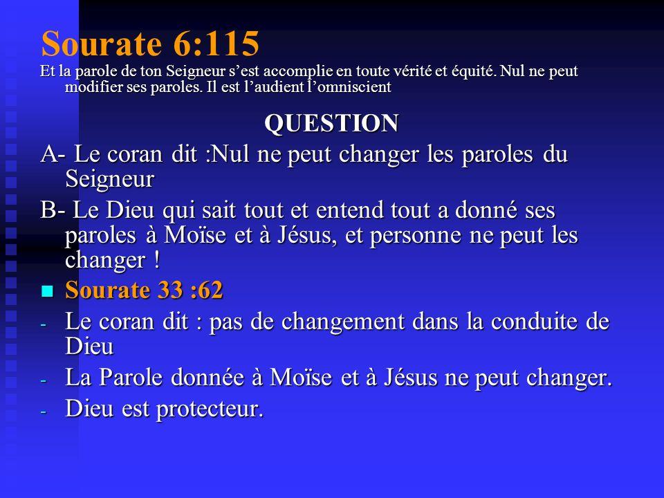 Sourate 6:34 Certes DES MESSAGERS AVANT TOI d » ont été traités de menteurs. Et dêtre persécutés, jusquà ce que notre secours leur vint. Et nul ne peu