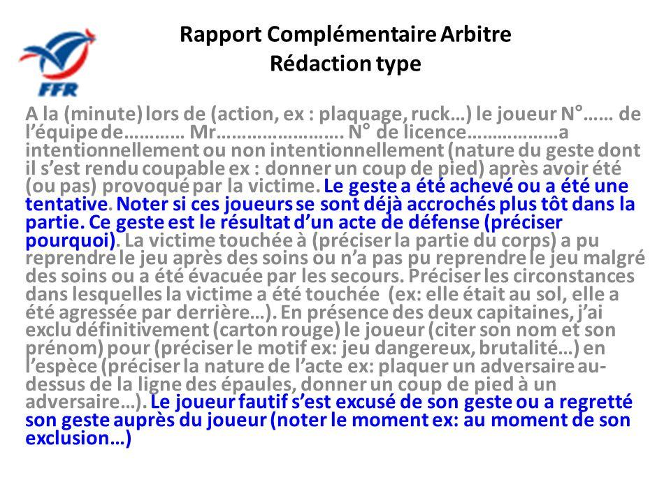 Rapport Complémentaire Arbitre Rédaction type A la (minute) lors de (action, ex : plaquage, ruck…) le joueur N°…… de léquipe de………… Mr……………………. N° de