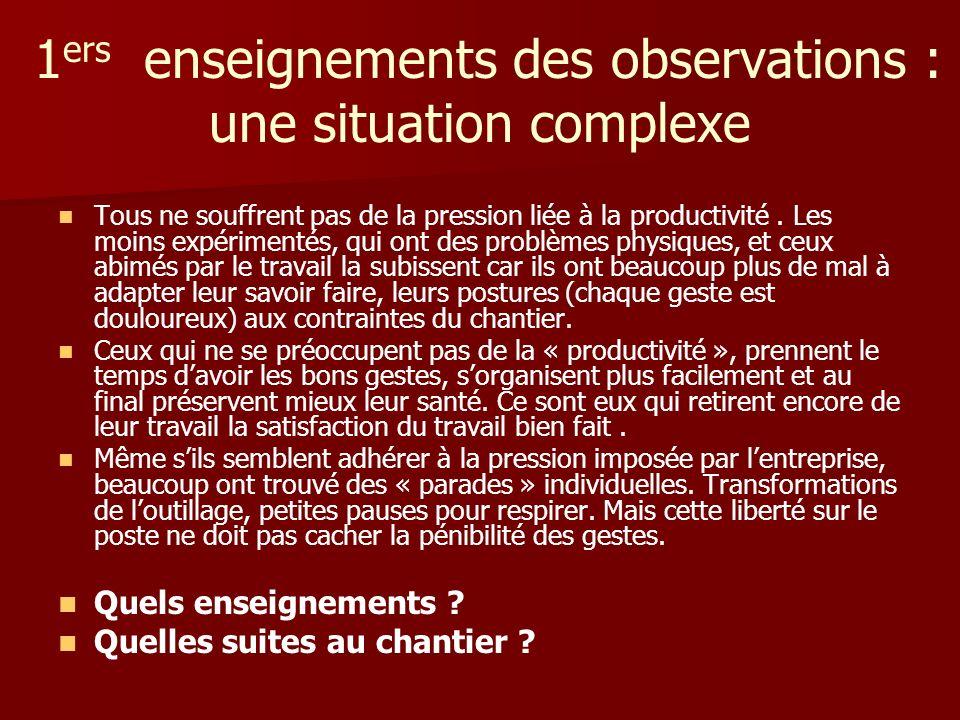 1 ers enseignements des observations : une situation complexe Tous ne souffrent pas de la pression liée à la productivité. Les moins expérimentés, qui