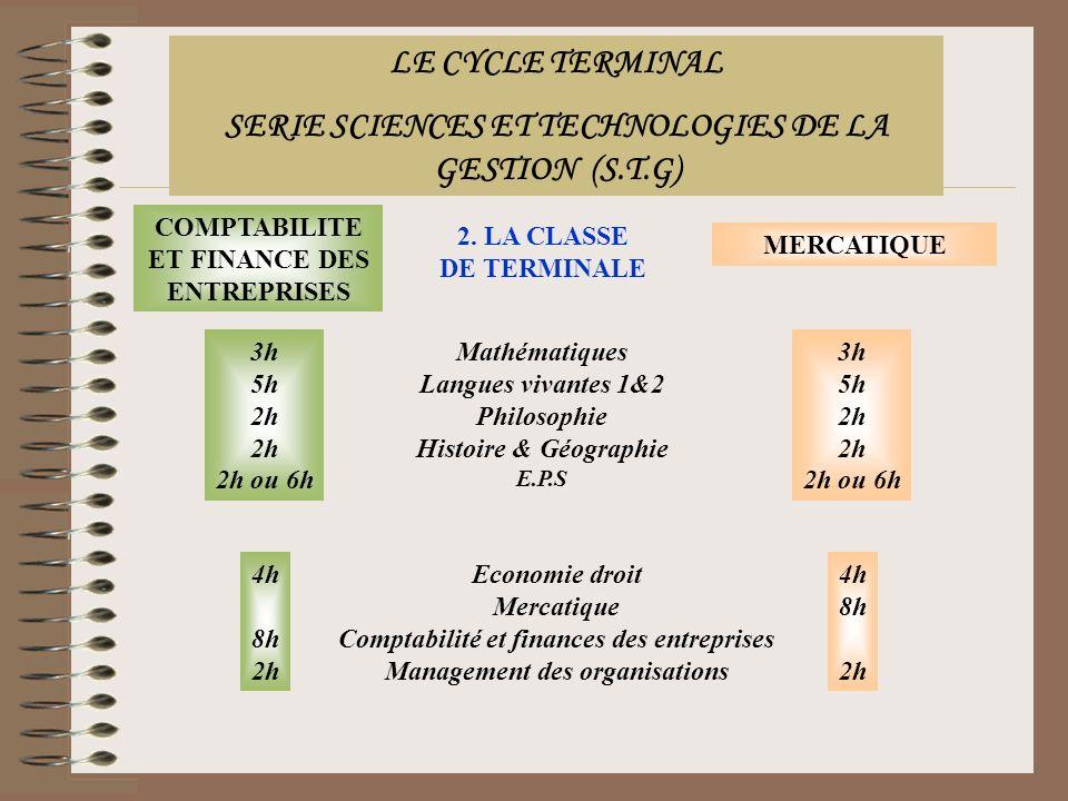2. LA CLASSE DE TERMINALE COMPTABILITE ET FINANCE DES ENTREPRISES MERCATIQUE Mathématiques Langues vivantes 1&2 Philosophie Histoire & Géographie E.P.