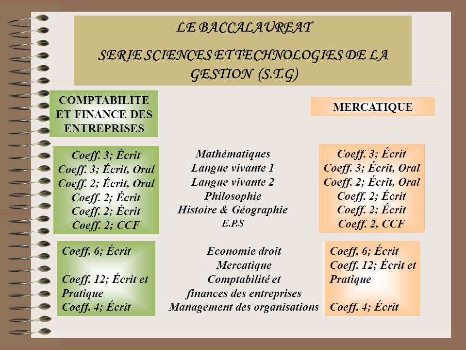 COMPTABILITE ET FINANCE DES ENTREPRISES MERCATIQUE Mathématiques Langue vivante 1 Langue vivante 2 Philosophie Histoire & Géographie E.P.S Coeff. 3; É