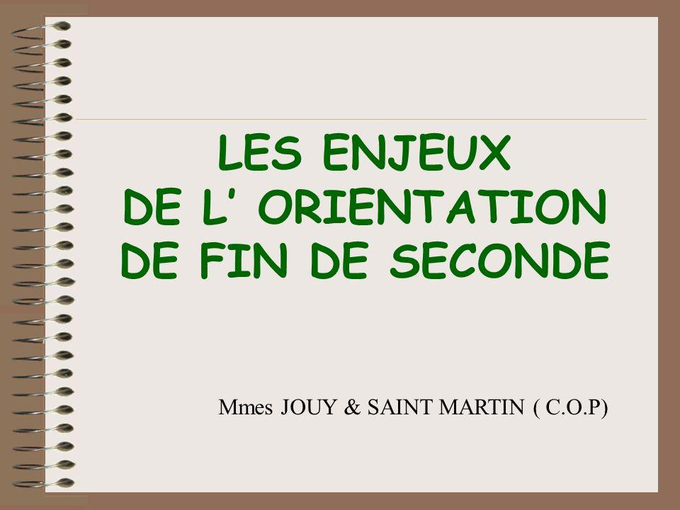 LES ENJEUX DE L ORIENTATION DE FIN DE SECONDE Mmes JOUY & SAINT MARTIN ( C.O.P)