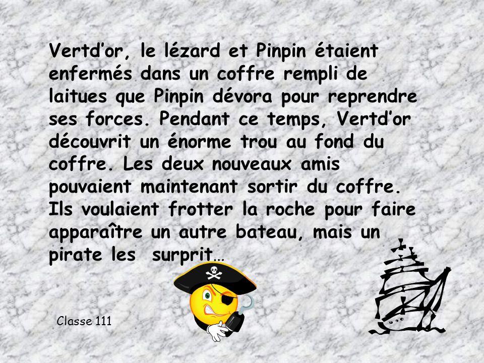 Vertdor, le lézard et Pinpin étaient enfermés dans un coffre rempli de laitues que Pinpin dévora pour reprendre ses forces. Pendant ce temps, Vertdor
