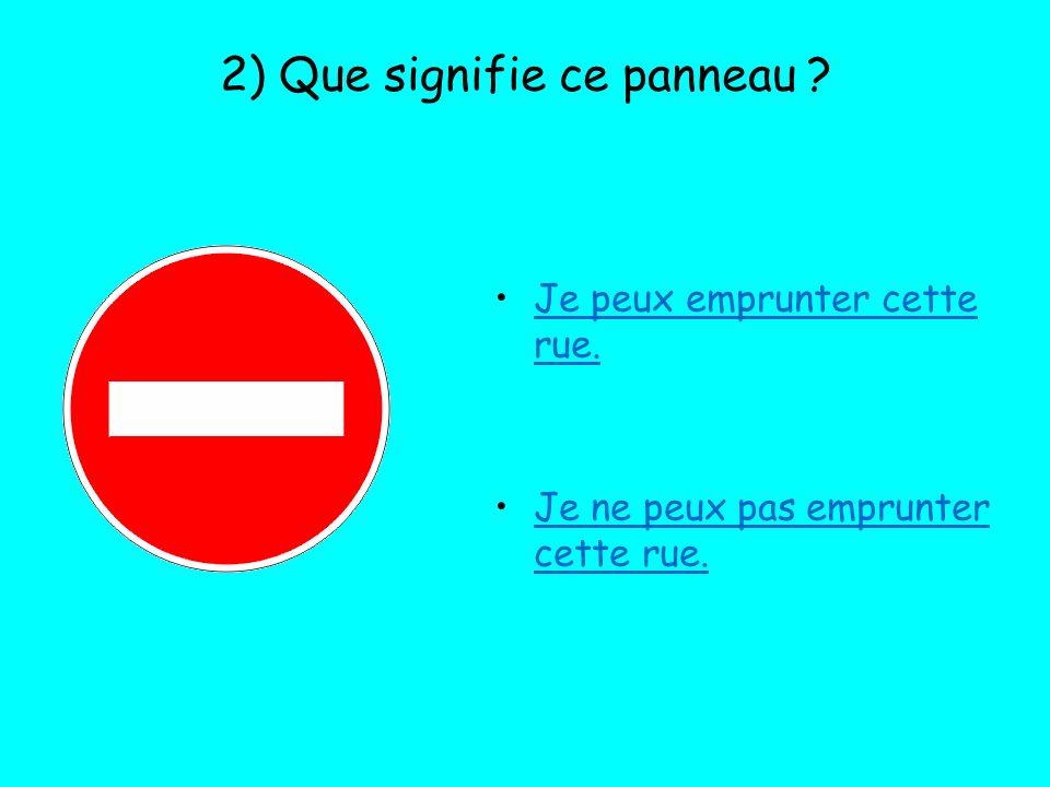 3) A la rencontre de ce panneau : Je dois marquer un arrêt et regarder que personne narrive pour continuer.