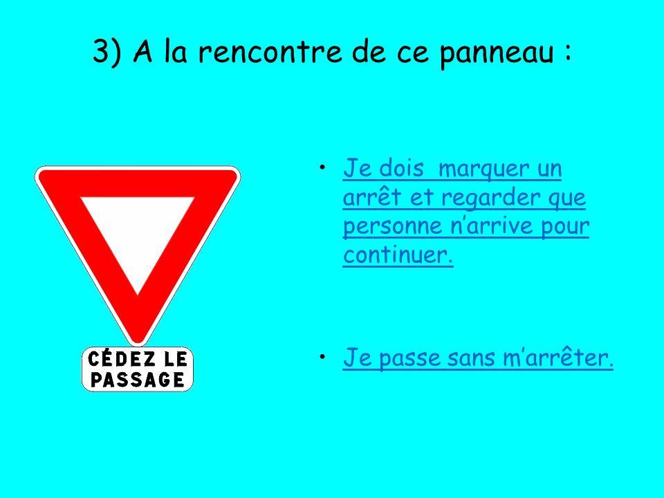 3) A la rencontre de ce panneau : Je dois marquer un arrêt et regarder que personne narrive pour continuer. Je passe sans marrêter.