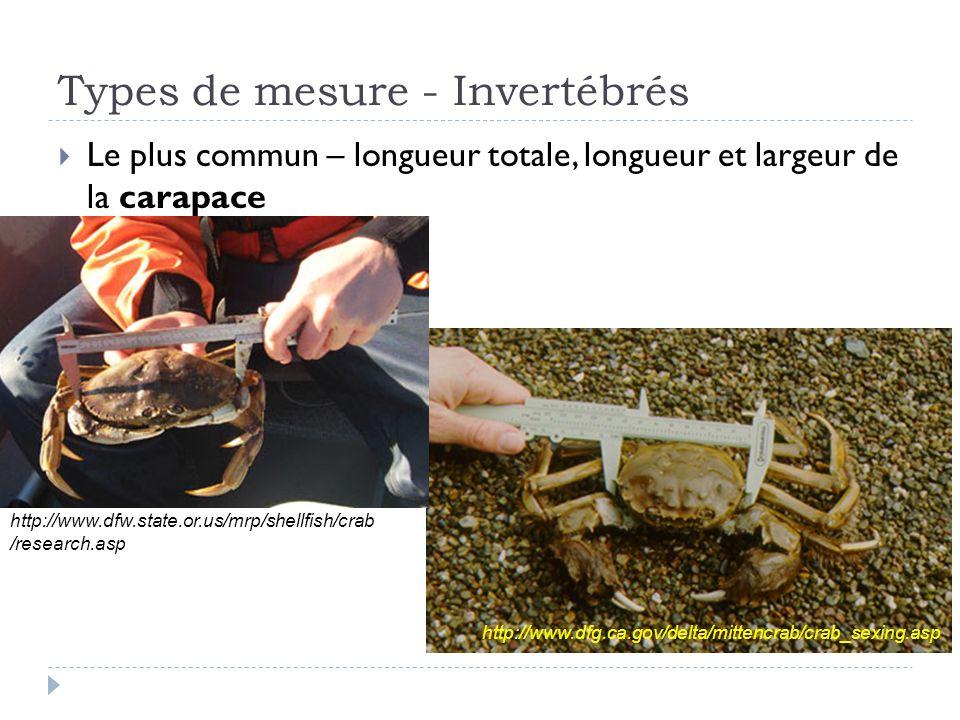 Types de mesure - Invertébrés Le plus commun – longueur totale, longueur et largeur de la carapace http://www.dfg.ca.gov/delta/mittencrab/crab_sexing.asphttp://www.dfw.state.or.us/mrp/shellfish/crab /research.asp