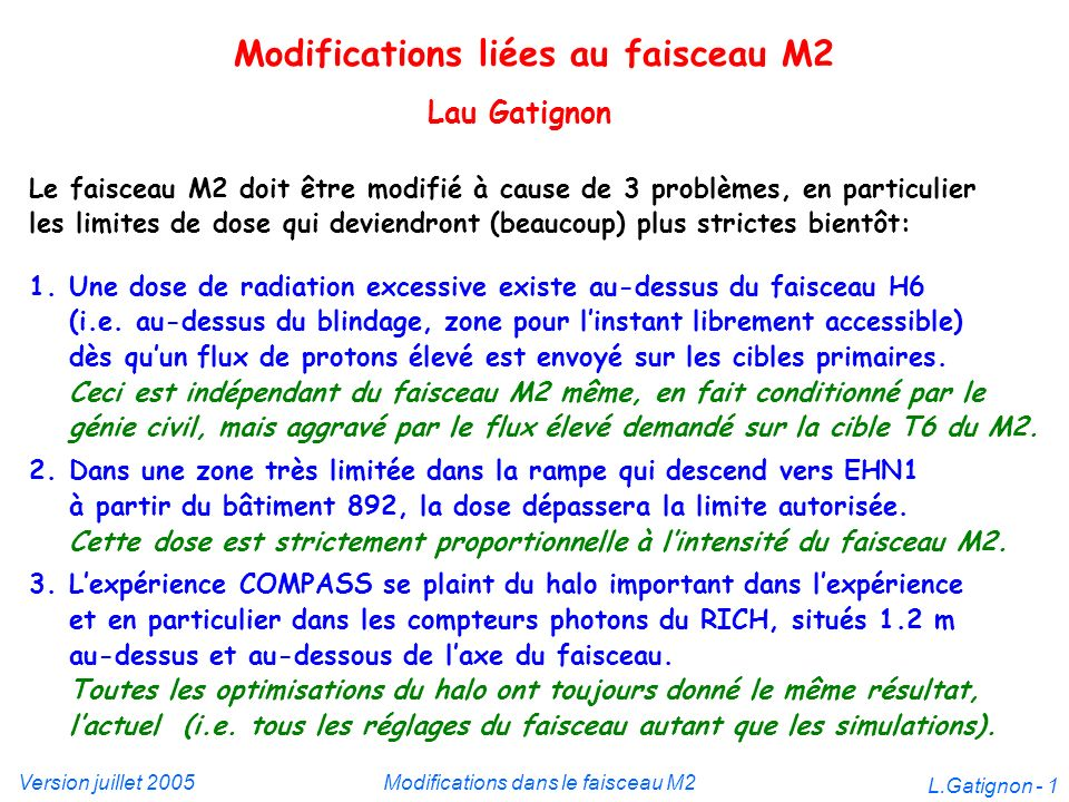 Version juillet 2005Modifications dans le faisceau M2 L.Gatignon - 12 Nouveau XCMV BMS (M2 hodoscope) #1 Action: Accès plus difficile aux filtres RP et à un rack COMPASS !