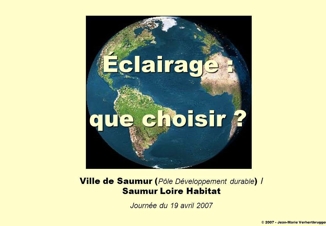 © 2007 - Jean-Marie Verhertbruggen Éclairage : que choisir ? Ville de Saumur ( Pôle Développement durable ) / Saumur Loire Habitat Journée du 19 avril