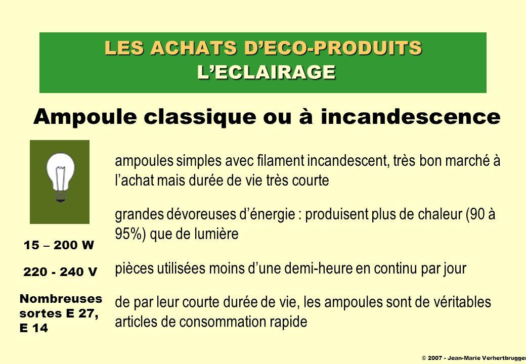 © 2007 - Jean-Marie Verhertbruggen LES ACHATS DECO-PRODUITS LECLAIRAGE Ampoule classique ou à incandescence ampoules simples avec filament incandescen