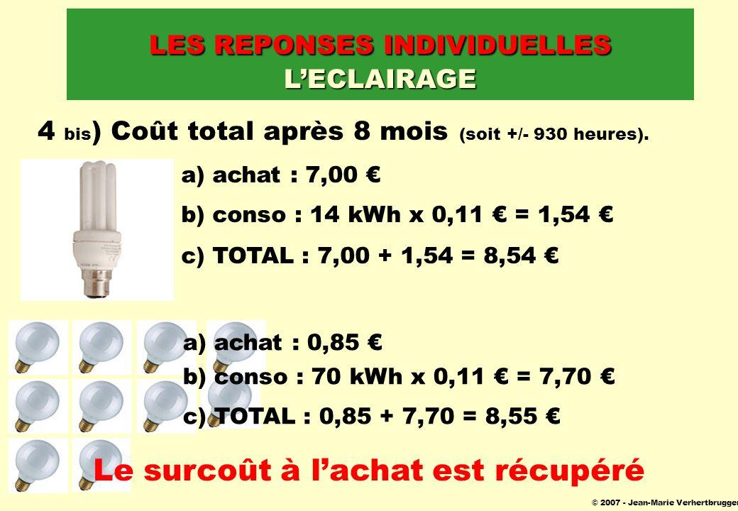 © 2007 - Jean-Marie Verhertbruggen 4 bis ) Coût total après 8 mois (soit +/- 930 heures). a) achat : 7,00 b) conso : 14 kWh x 0,11 = 1,54 c) TOTAL : 7