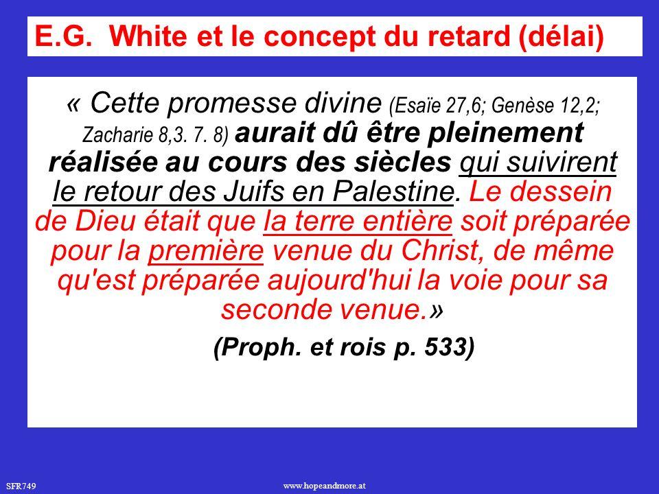 SFR749 www.hopeandmore.at « Cette promesse divine (Esaïe 27,6; Genèse 12,2; Zacharie 8,3.
