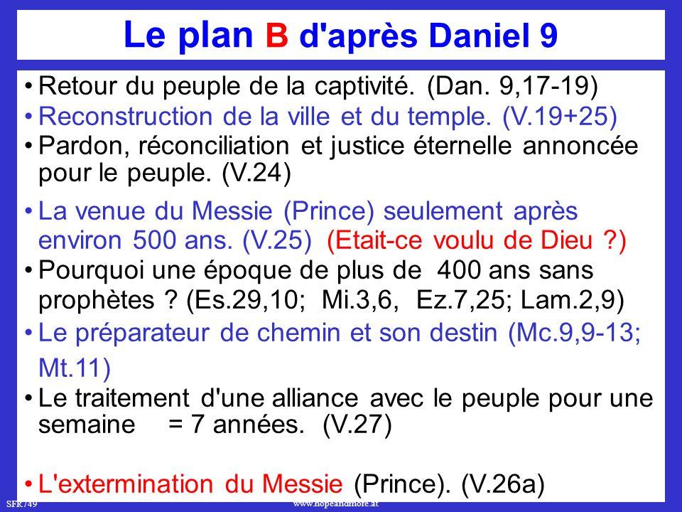 SFR749 www.hopeandmore.at Le plan B d après Daniel 9 Retour du peuple de la captivité.