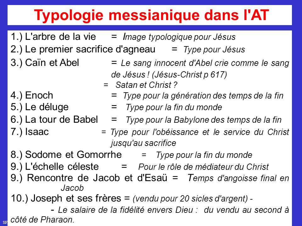 SFR749 www.hopeandmore.at 1.) L arbre de la vie= I mage typologique pour Jésus 2.) Le premier sacrifice d agneau= Type pour Jésus 3.) Caïn et Abel = Le sang innocent d Abel crie comme le sang de Jésus .
