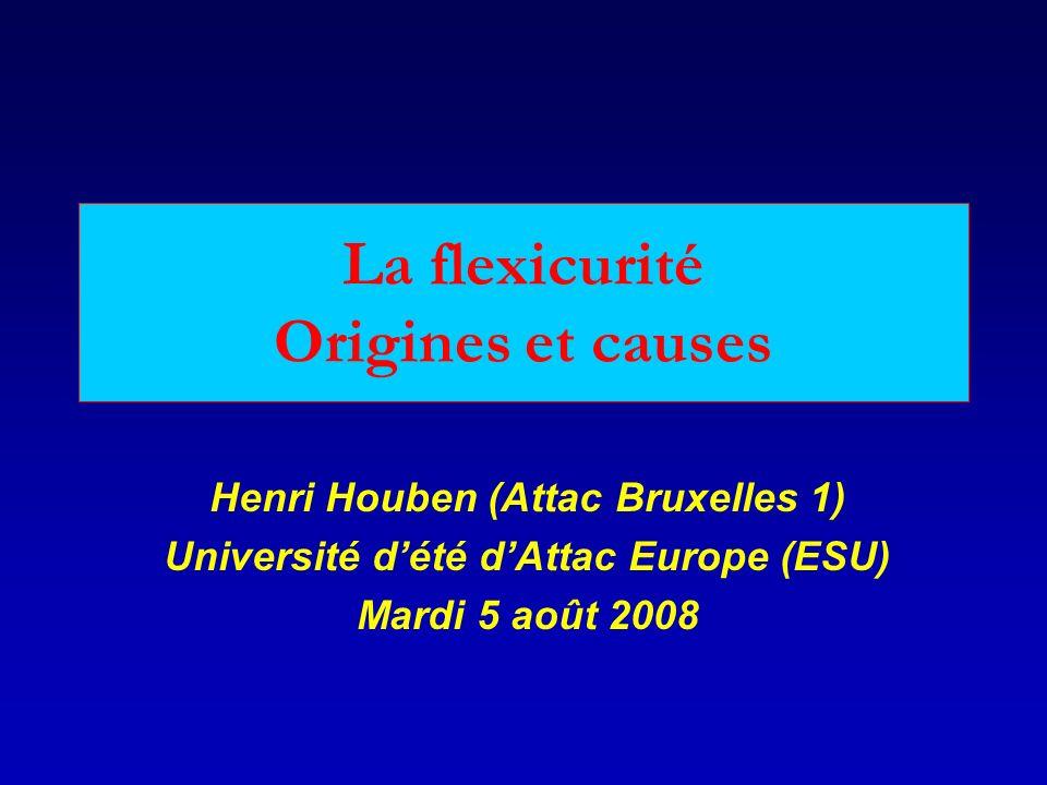 La flexicurité Origines et causes Henri Houben (Attac Bruxelles 1) Université dété dAttac Europe (ESU) Mardi 5 août 2008