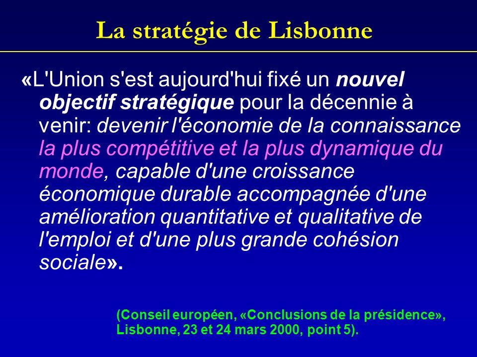 La stratégie de Lisbonne «L Union s est aujourd hui fixé un nouvel objectif stratégique pour la décennie à venir: devenir l économie de la connaissance la plus compétitive et la plus dynamique du monde, capable d une croissance économique durable accompagnée d une amélioration quantitative et qualitative de l emploi et d une plus grande cohésion sociale».