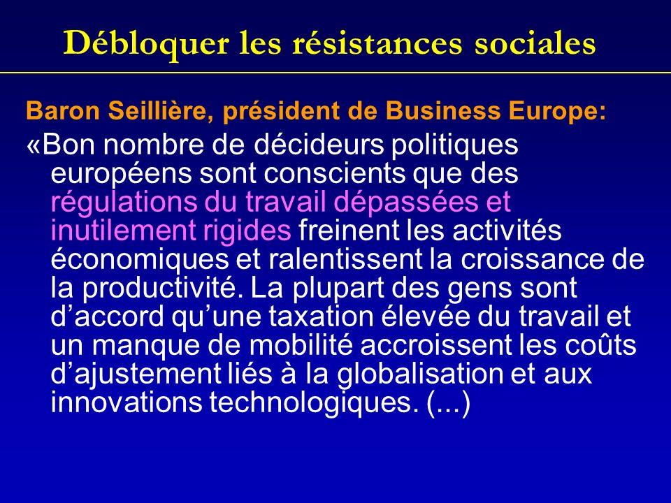 Débloquer les résistances sociales Baron Seillière, président de Business Europe: «Bon nombre de décideurs politiques européens sont conscients que des régulations du travail dépassées et inutilement rigides freinent les activités économiques et ralentissent la croissance de la productivité.