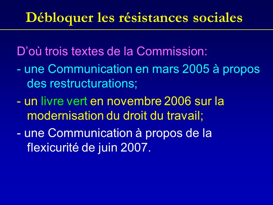 Débloquer les résistances sociales Doù trois textes de la Commission: - une Communication en mars 2005 à propos des restructurations; - un livre vert en novembre 2006 sur la modernisation du droit du travail; - une Communication à propos de la flexicurité de juin 2007.