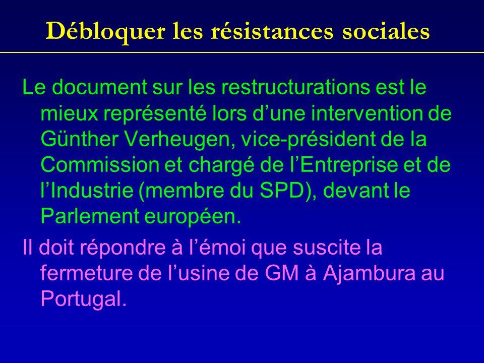 Débloquer les résistances sociales Le document sur les restructurations est le mieux représenté lors dune intervention de Günther Verheugen, vice-président de la Commission et chargé de lEntreprise et de lIndustrie (membre du SPD), devant le Parlement européen.