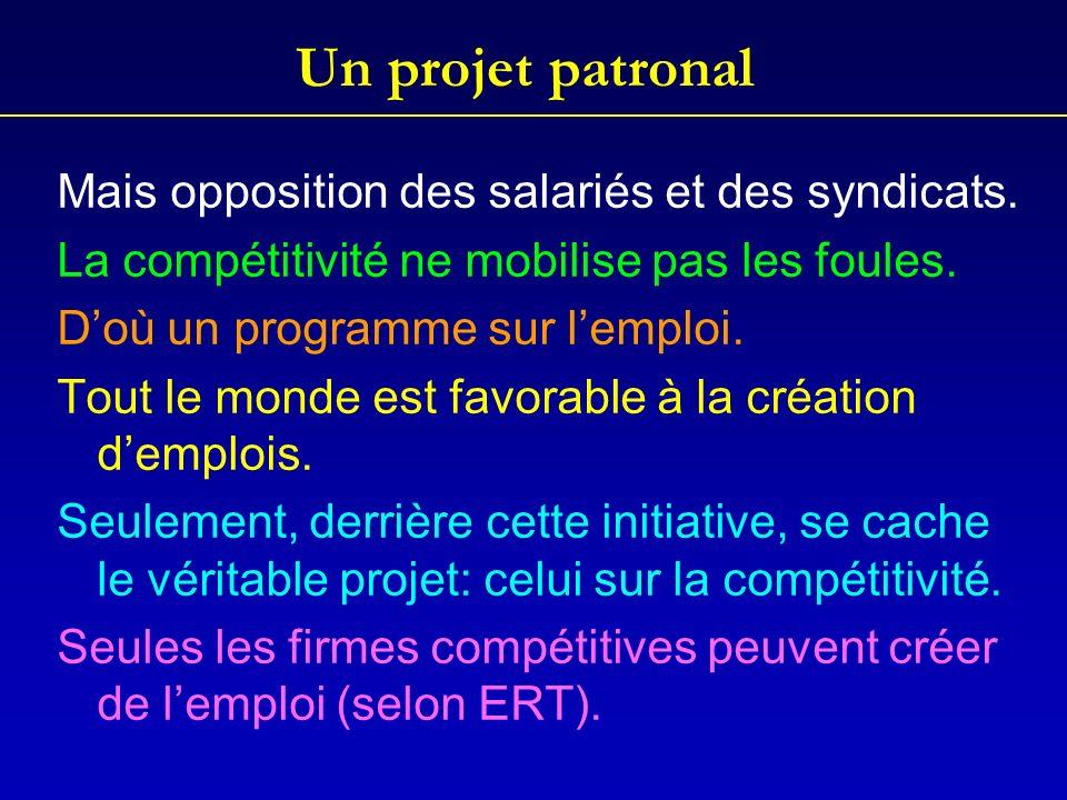 Un projet patronal Mais opposition des salariés et des syndicats.