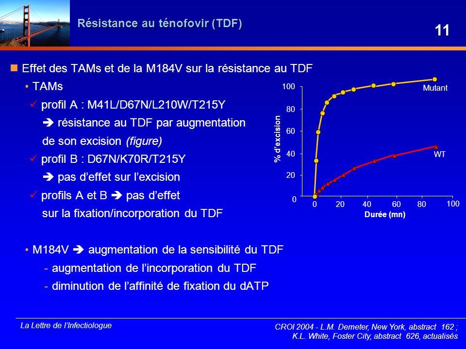 La Lettre de lInfectiologue Résistance au ténofovir (TDF) Effet des TAMs et de la M184V sur la résistance au TDF TAMs profil A : M41L/D67N/L210W/T215Y