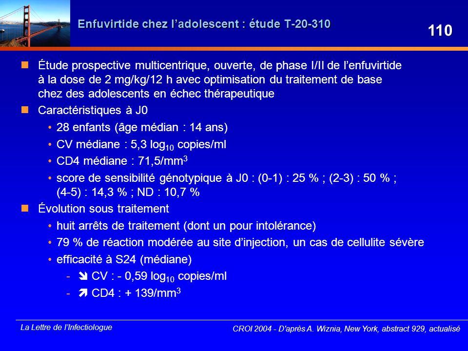 La Lettre de lInfectiologue Enfuvirtide chez ladolescent : étude T-20-310 Étude prospective multicentrique, ouverte, de phase I/II de lenfuvirtide à l