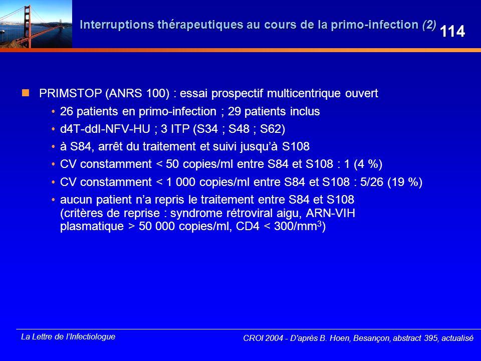 La Lettre de lInfectiologue CROI 2004 - D'après B. Hoen, Besançon, abstract 395, actualisé Interruptions thérapeutiques au cours de la primo-infection