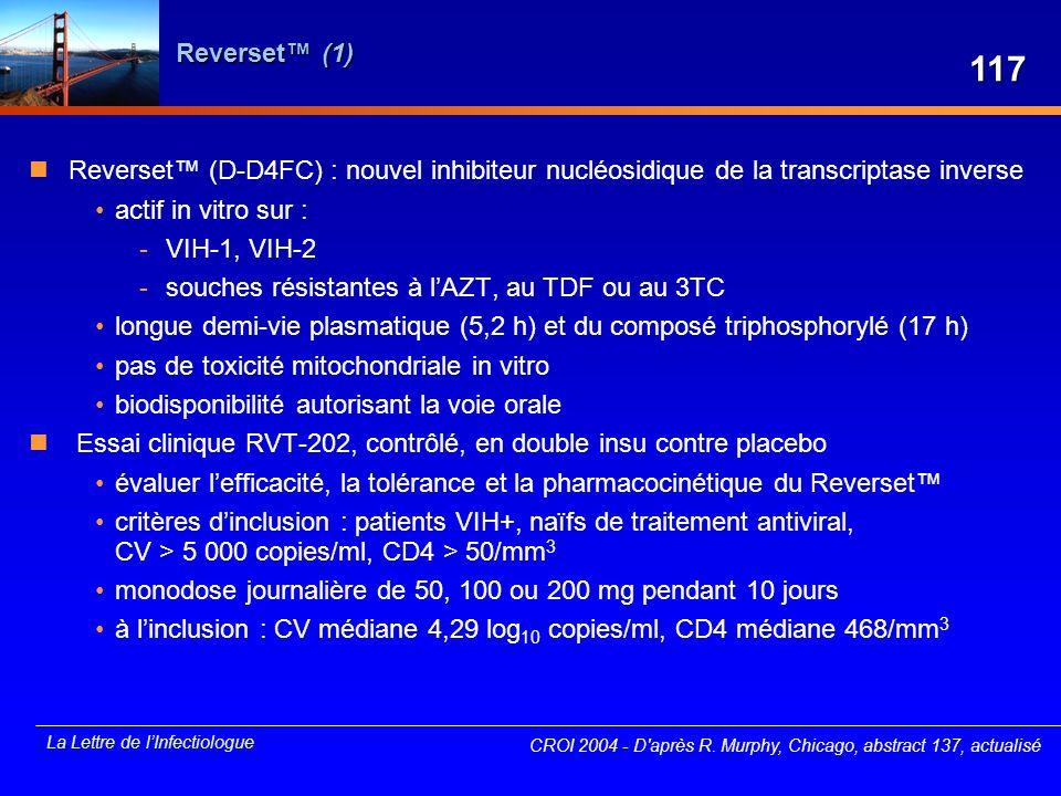 La Lettre de lInfectiologue Reverset (1) Reverset (D-D4FC) : nouvel inhibiteur nucléosidique de la transcriptase inverse actif in vitro sur : -VIH-1,