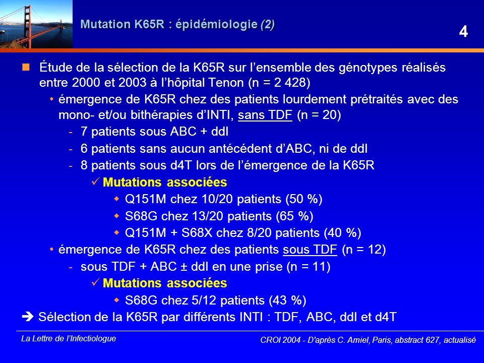 La Lettre de lInfectiologue Pharmacogénétique de lefavirenz (EFV) et effets indésirables (1) Étude AACTG NWCS214 : sous-étude de lACTG A5095, étude en double aveugle, randomisée Objectif principal : déterminer sil existe une corrélation entre les polymorphismes génétiques au niveau du CYP2B6, CYP3A4, CYP3A5 et MDR1 et : les concentrations plasmatiques en EFV la réponse immunovirologique la tolérance générale les effets indésirables neuropsychiques Méthode 303 patients ont été inclus dont 202 dans les bras comportant de lEFV échantillons plasmatiques recueillis à S1, S4, S12 et S24 analyse PK = PK de population polymorphismes génétiques identifiés par RT-PCR CROI 2004 - Daprès D.