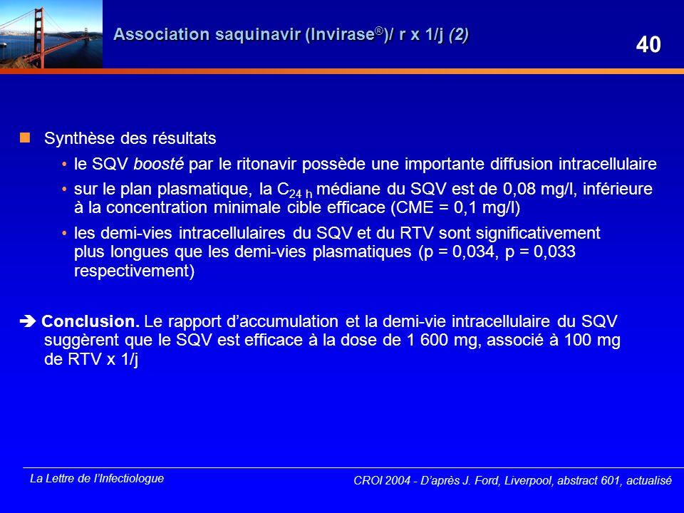 La Lettre de lInfectiologue Association saquinavir (Invirase ® )/ r x 1/j (2) Synthèse des résultats le SQV boosté par le ritonavir possède une import