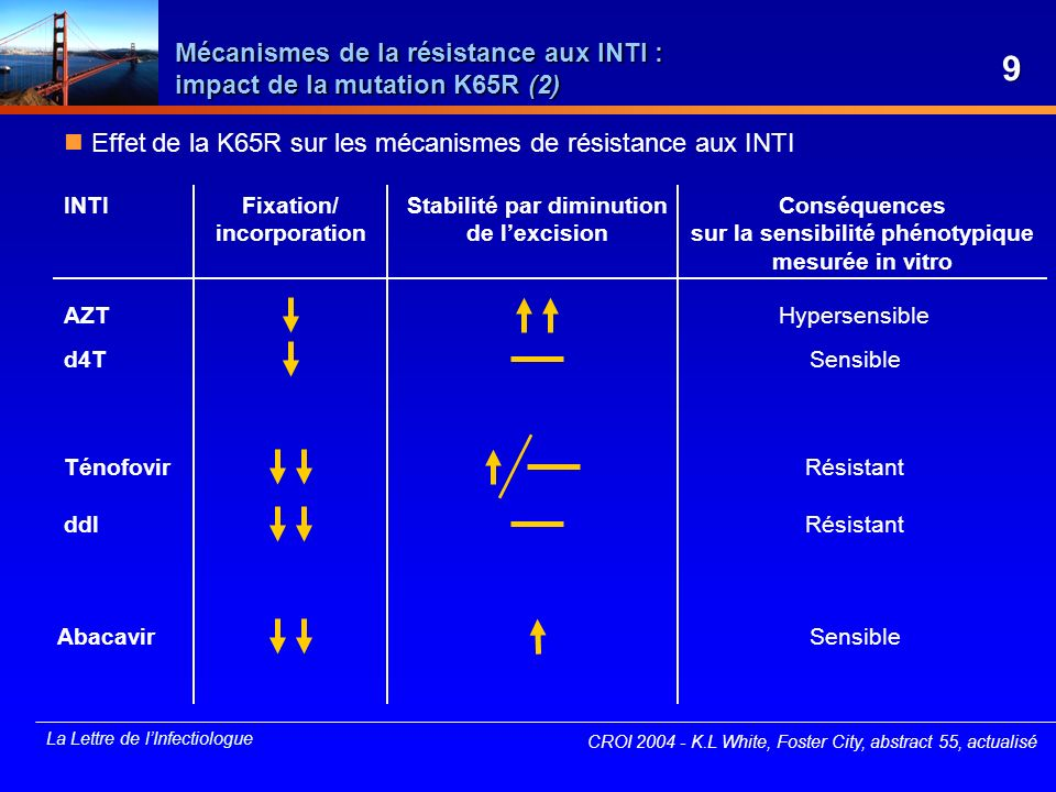 La Lettre de lInfectiologue Enfuvirtide chez ladolescent : étude T-20-310 Étude prospective multicentrique, ouverte, de phase I/II de lenfuvirtide à la dose de 2 mg/kg/12 h avec optimisation du traitement de base chez des adolescents en échec thérapeutique Caractéristiques à J0 28 enfants (âge médian : 14 ans) CV médiane : 5,3 log 10 copies/ml CD4 médiane : 71,5/mm 3 score de sensibilité génotypique à J0 : (0-1) : 25 % ; (2-3) : 50 % ; (4-5) : 14,3 % ; ND : 10,7 % Évolution sous traitement huit arrêts de traitement (dont un pour intolérance) 79 % de réaction modérée au site dinjection, un cas de cellulite sévère efficacité à S24 (médiane) - CV : - 0,59 log 10 copies/ml - CD4 : + 139/mm 3 CROI 2004 - D après A.