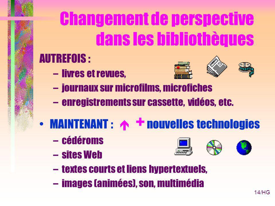 14/HG Changement de perspective dans les bibliothèques AUTREFOIS : –livres et revues, –journaux sur microfilms, microfiches –enregistrements sur cassette, vidéos, etc.