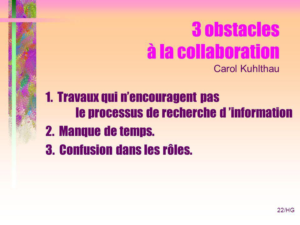 22/HG 3 obstacles à la collaboration Carol Kuhlthau 1.